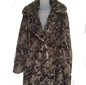 New York & company Gray tan black faux fur coat